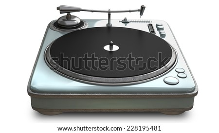 DJ Turntable Isolated  isolated on white background. High resolution 3d - stock photo