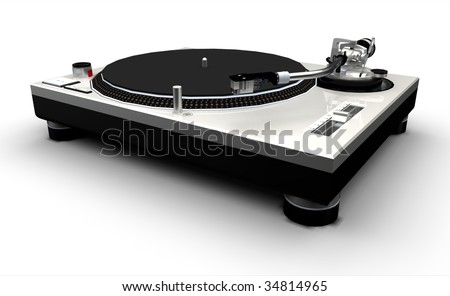 DJ Turntable (silver) on a white background - stock photo