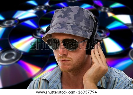 DJ with Hand on Headphones against an Abstract CD Background
