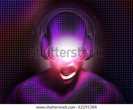 DJ with headphones - stock photo