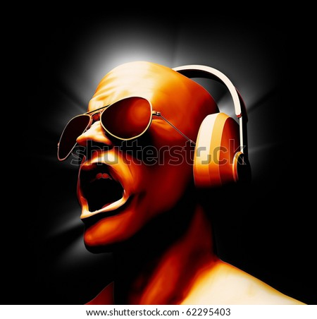 DJ with headphones - Created from 3D models and lots of painstaking hand painting. - stock photo