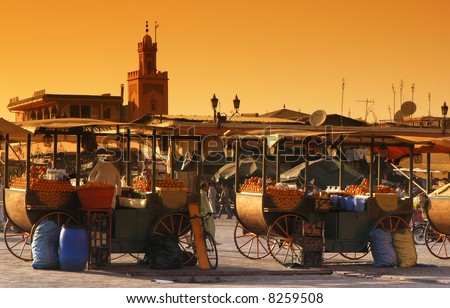 djema el fna place in marrakech - stock photo