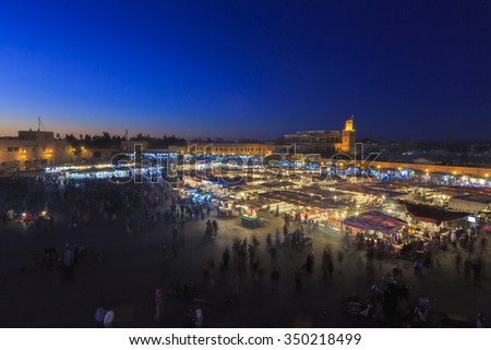 Djemaa el Fna - square and market place in Marrakesh's medina quarter, Marrakesh, Morocco. 25-02-2015