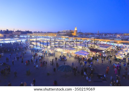 Djemaa el Fna - square and market place in Marrakesh's medina quarter, Marrakesh, Morocco. 25-02-2015 - stock photo
