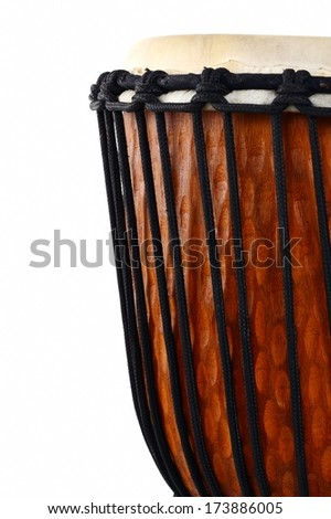 djembe, african percussion, wooden drum with goat skin - stock photo