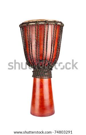 Djembe drum isolated on white - stock photo