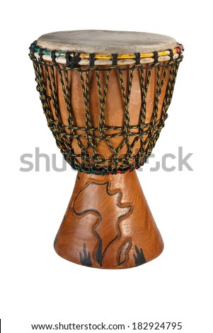Djembe - ethnic drum made of wood and goat skin. . Isolated object on a white background. - stock photo