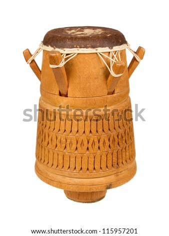 Djembe, Surinam percussion, handmade wooden drum with goat skin, ethnic musical instrument of carved wood and leather membrane, isolated - stock photo