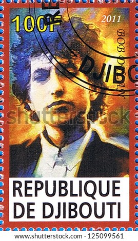 DJIBOUTI - CIRCA 2011: A postage stamp printed in the Republic of Djibouti showing Bob Dylan, circa 2011 - stock photo