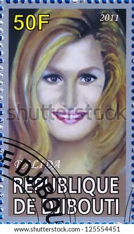 DJIBOUTI - CIRCA 2011: A postage stamp printed in the Republic of Djibouti showing Dalida, circa 2011 - stock photo