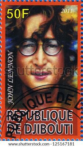 DJIBOUTI - CIRCA 2011: A postage stamp printed in the Republic of Djibouti showing John Lennon, circa 2011 - stock photo