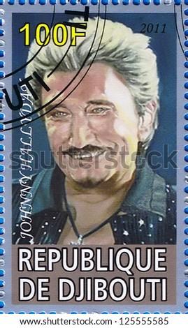 DJIBOUTI - CIRCA 2011: A postage stamp printed in the Republic of Djibouti showing Johnny Hallyday, circa 2011 - stock photo