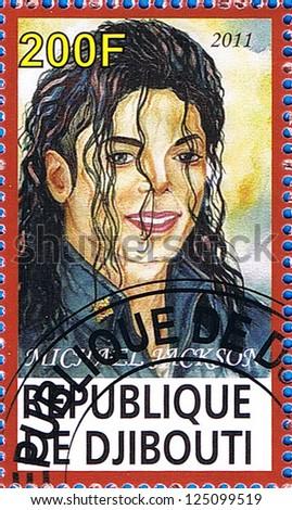 DJIBOUTI - CIRCA 2011: A postage stamp printed in the Republic of Djibouti showing Michael Jackson, circa 2011 - stock photo
