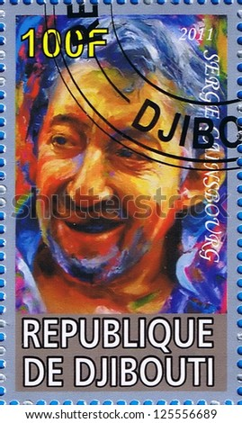 DJIBOUTI - CIRCA 2011: A postage stamp printed in the Republic of Djibouti showing Serge Gainsbourg, circa 2011 - stock photo