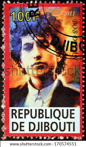 DJIBOUTI - CIRCA 2011: A stamp printed by DJIBOUTI shows image portrait of famous American musician, singer, artist, writer and songwriter Bob Dylan (Robert Allen Zimmerman), circa 2011 - stock photo