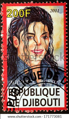 DJIBOUTI - CIRCA 2011: A stamp printed by DJIBOUTI shows image portrait of famous American singer, songwriter, dancer, businessman and philanthropist Michael Jackson, circa 2011 - stock photo