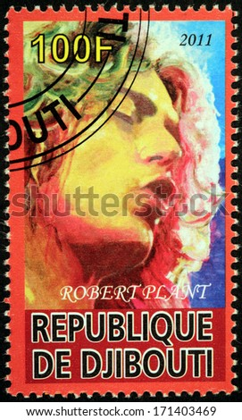 DJIBOUTI - CIRCA 2011: A stamp printed by DJIBOUTI shows portrait of English musician, singer and songwriter Robert Plant best known as the lead vocalist of the rock band Led Zeppelin, circa 2011 - stock photo
