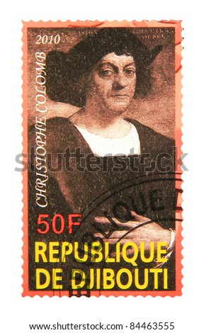 DJIBOUTI - CIRCA 2010: A stamp printed in Djibouti showing Christophe Colomb, circa 2010 - stock photo