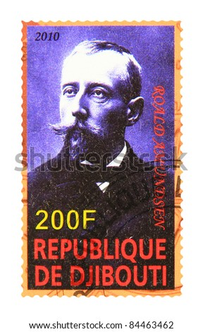 DJIBOUTI - CIRCA 2010: A stamp printed in Djibouti showing Roald Amundsen, circa 2010 - stock photo