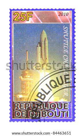 DJIBOUTI - CIRCA 2010: A stamp printed in Djibouti showing shuttle Challenger, circa 2010 - stock photo