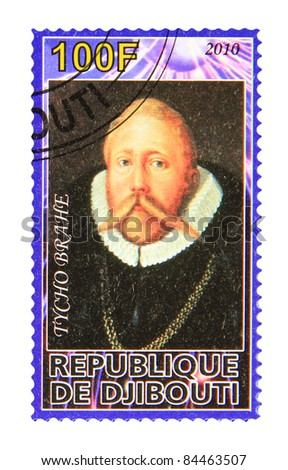 DJIBOUTI - CIRCA 2010: A stamp printed in Djibouti showing Tycho Brahe, circa 2010 - stock photo