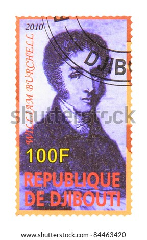 DJIBOUTI - CIRCA 2010: A stamp printed in Djibouti showing William John Burchell, circa 2010