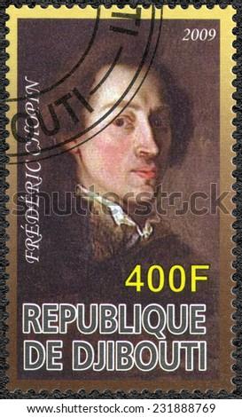 DJIBOUTI - CIRCA 2009: A stamp printed in Republic of Djibouti shows Frederic Chopin (1810-1849), composer, circa 2009 - stock photo