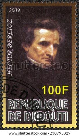 DJIBOUTI - CIRCA 2009: A stamp printed in Republic of Djibouti shows Hector Berlioz (1803-1869), composer, circa 2009 - stock photo