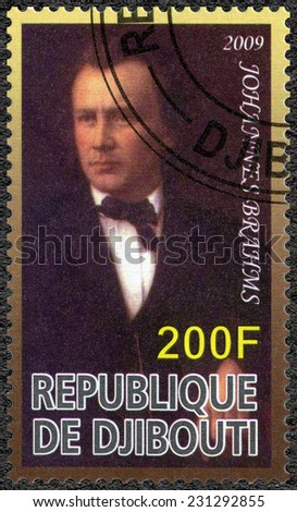 DJIBOUTI - CIRCA 2009: A stamp printed in Republic of Djibouti shows Johannes Brahms (1833-1897), composer, circa 2009 - stock photo
