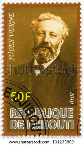 DJIBOUTI - CIRCA 2010: A stamp printed in Republic of Djibouti shows Jules Verne (1828-1905), circa 2010 - stock photo