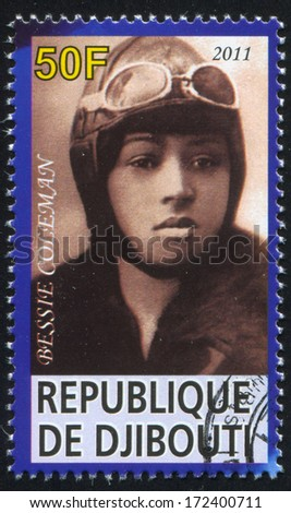 DJIBOUTI - CIRCA 2011: stamp printed by Djibouti, shows Bessie Coleman, circa 2011 - stock photo