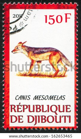 DJIBOUTI - CIRCA 2011: stamp printed by Djibouti, shows Black-backed jackal, circa 2011