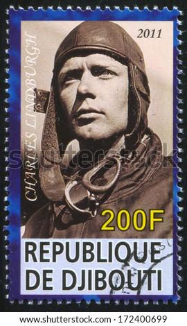 DJIBOUTI - CIRCA 2011: stamp printed by Djibouti, shows Charles Lindburgh, circa 2011 - stock photo