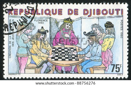 DJIBOUTI CIRCA 1970: stamp printed by Djibouti, shows Chess Game, Florence, circa 1970 - stock photo