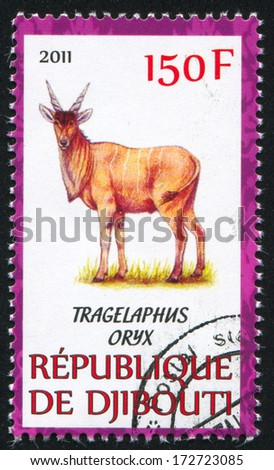 DJIBOUTI - CIRCA 2011: stamp printed by Djibouti, shows Common eland, circa 2011 - stock photo