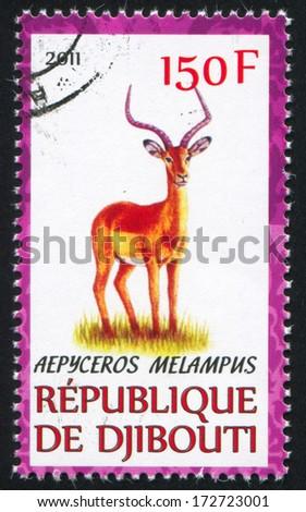DJIBOUTI - CIRCA 2011: stamp printed by Djibouti, shows Impala, circa 2011 - stock photo