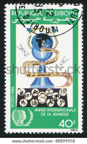 DJIBOUTI CIRCA 1985: stamp printed by Djibouti, shows International Youth Year, circa 1985