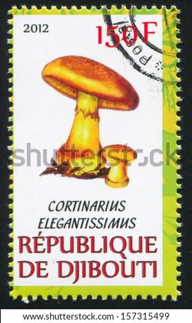 DJIBOUTI - CIRCA 2012: stamp printed by Djibouti, shows mushroom, circa 2012 - stock photo