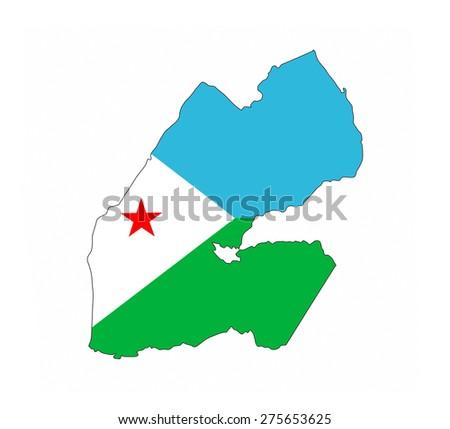 djibouti country flag map shape national symbol - stock photo