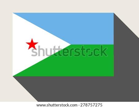 Djibouti flag in flat web design style. - stock photo