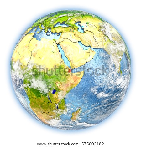 Djibouti highlighted in red on planet Earth. 3D illustration isolated on white background. Elements of this image furnished by NASA.
