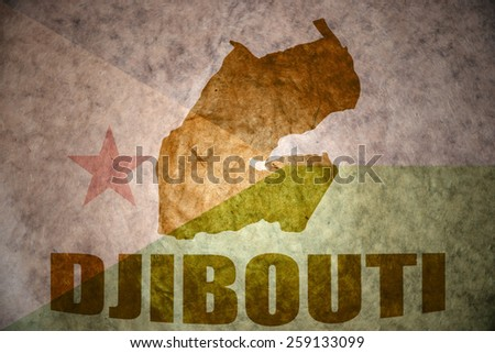 djibouti map on a vintage djibouti flag background