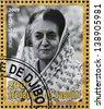DJIBOUTY - CIRCA 2009: A stamp printed in Djibouty shows Indira Gandhi, circa 2009 - stock photo
