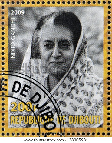 DJIBOUTY - CIRCA 2009: A stamp printed in Djibouty shows Indira Gandhi, circa 2009 - stock photo