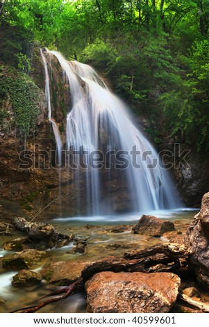 Djur-djur waterfall. Crimea. Ukraine. High resolution panorama. - stock photo