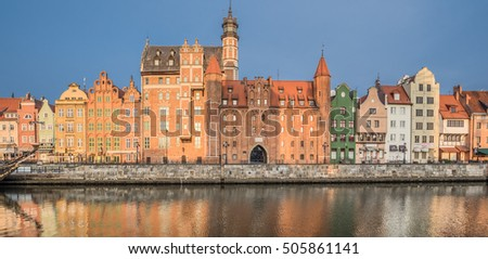 Dluge Pobrzeze (Long Riverside) street along Motlawa river, Main City, Gdansk, Poland-October 15, 2016: Known by its fine, decorative and attractive buildings, rebuilt and reconstructed after WWII