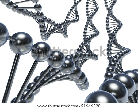 DNA chains (3d render) - stock photo