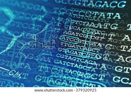 DNA data and chemical formula. Science concept.