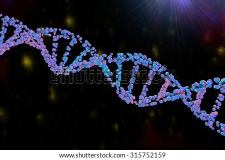 DNA, double helix of DNA, DNA chains built from bubbles, scientific background - stock photo