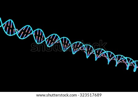 DNA, double helix of DNA isolated on black background, scientific background, genetics background, biology background - stock photo